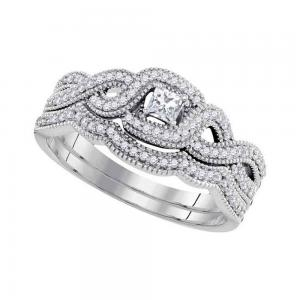 10k White Gold Princess Diamond Woven Crossover Bridal Wedding Engagement Ring B