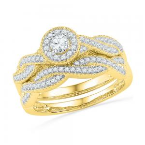 10kt Yellow Gold Womens Round Diamond Twist Bridal Wedding Engagement Ring Band