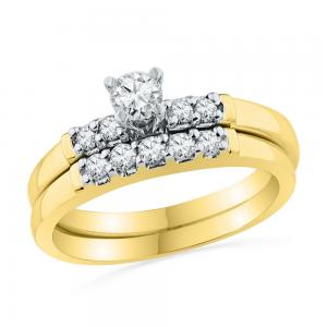 10kt Yellow Gold Womens Round Diamond Bridal Wedding Engagement Ring Band Set 1/