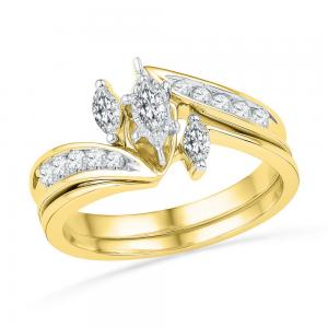 10kt Yellow Gold Womens Marquise Diamond 3-Stone Bridal Wedding Engagement Ring