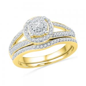 10kt Yellow Gold Womens Round Diamond Halo Split-shank Bridal Wedding Engagement