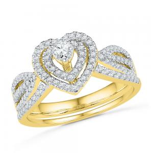 10kt Yellow Gold Womens Diamond Heart Bridal Wedding Engagement Ring Band Set 5/