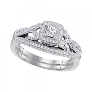 10kt White Gold Womens Diamond Princess Bridal Wedding Engagement Ring Band Set