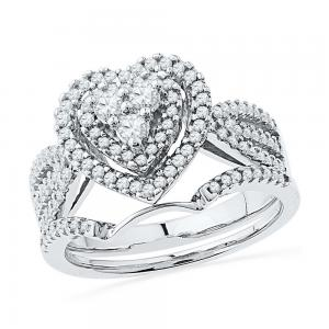 10kt White Gold Womens Round Diamond Heart Bridal Wedding Engagement Ring Band S