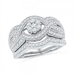 10kt White Gold Womens Diamond Cluster Twist Bridal Wedding Engagement Ring Band