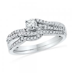 10kt White Gold Womens Round Diamond Crossover Bridal Wedding Engagement Ring Ba