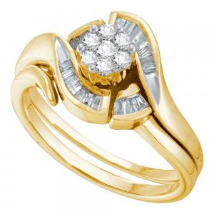 14k Yellow Gold Round Diamond Cluster Womens Bridal Wedding Engagement Ring Wedd