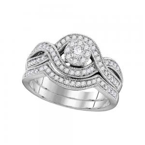 10kt White Gold Womens Round Diamond Milgrain Twist Bridal Wedding Engagement Ri