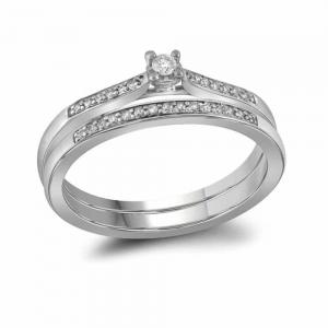 10kt White Gold Womens Round Diamond Bridal Wedding Engagement Ring Band Set 1/8