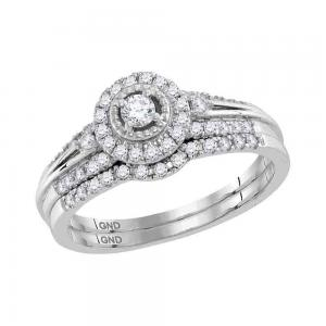 10kt White Gold Womens Round Diamond Halo Bridal Wedding Engagement Ring Band Se