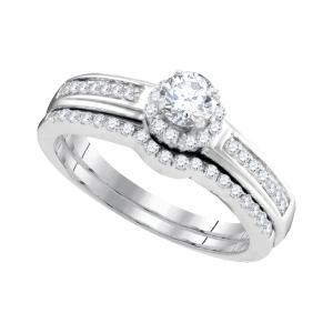 10kt White Gold Womens Round Diamond Bridal Wedding Engagement Ring Band Set 1/2