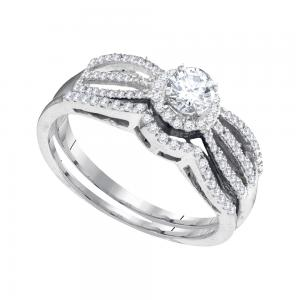 10kt White Gold Womens Round Diamond Split-shank Bridal Wedding Engagement Ring