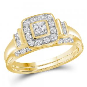 10kt Yellow Gold Womens Round Diamond Solitaire Square Bridal Wedding Engagement