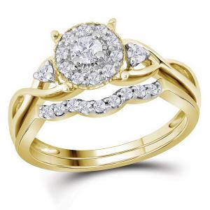 10kt Yellow Gold Womens Round Diamond Halo Twist Bridal Wedding Engagement Ring