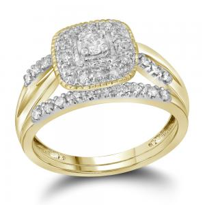 10kt Yellow Gold Womens Round Diamond Square Halo Bridal Wedding Engagement Ring