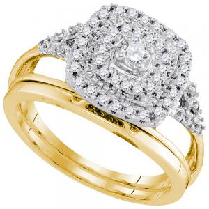 10kt Yellow Gold Womens Diamond Round Bridal Wedding Engagement Ring Band Set 1/