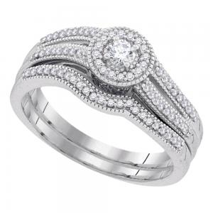 10k White Gold Womens Round Diamond Halo Bridal Wedding Engagement Ring Band Set