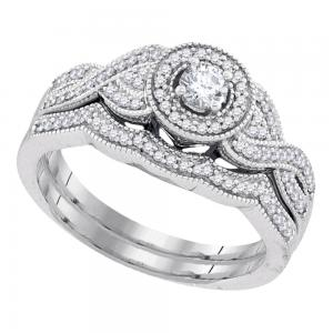 10k White Gold Womens Round Diamond Halo Woven Twist Bridal Wedding Engagement R