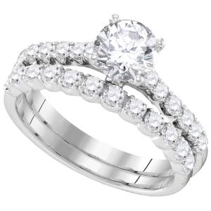 14kt White Gold Womens Round Diamond Bridal Wedding Engagement Ring Band Set 2-1