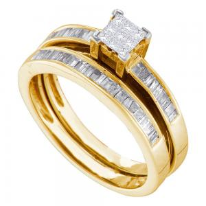 14kt Yellow Gold Womens Baguette Diamond Bridal Wedding Engagement Ring Band Set