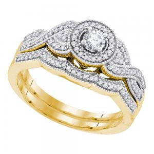 10k Yellow Gold Womens Round Diamond Halo Woven Twist Bridal Wedding Engagement