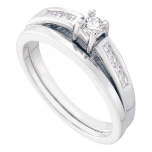 14kt White Gold Womens Round Diamond Bridal Wedding Engagement Ring Band Set 1/4