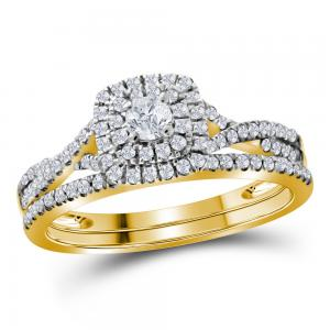 10kt Yellow Gold Womens Round Diamond Halo Bridal Wedding Engagement Ring Band S
