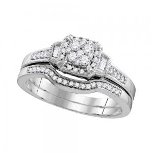 10k White Gold Womens Round Diamond Cluster Bridal Wedding Engagement Ring Band