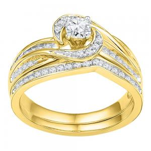 10k Yellow Gold Womens Round Diamond Swirl Bridal Wedding Engagement Ring Band S