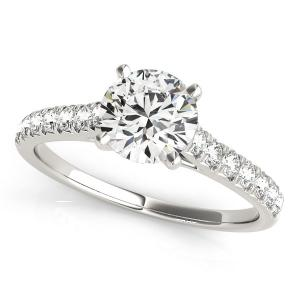 14K White Gold Round Prong Set Single Row Band Diamond Engagement Ring (1 1/3 ct