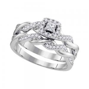 10k White Gold Princess Diamond Womens Halo Bridal Wedding Engagement Ring Band