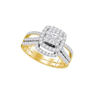 14K Yellow Gold Womens Princess Diamond Bridal Wedding Engagement Ring Band Set