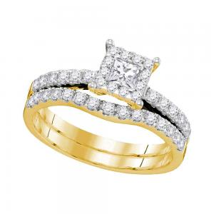 14K Yellow Gold Princess Diamond Womens Bridal Wedding Engagement Ring Band Set