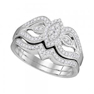 10kt White Gold Womens Round Diamond Oval Cluster Bridal Wedding Engagement Ring