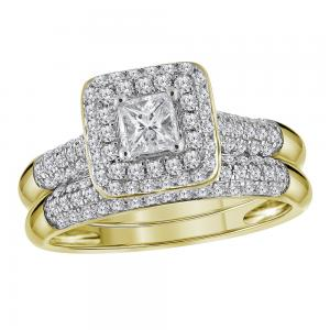 10kt Yellow Gold Womens Princess Diamond Halo Bridal Wedding Engagement Ring Ban