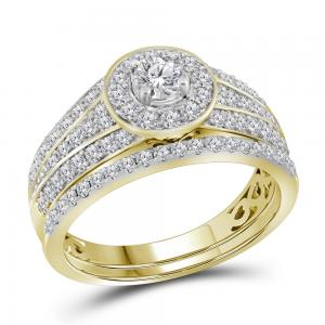 14kt Yellow Gold Womens Diamond EGL Round Bridal Wedding Engagement Ring Band Se