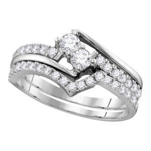 10kt White Gold Womens Diamond 2-stone Bridal Wedding Engagement Ring Band Set 1