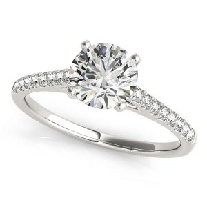 14K White Gold Pronged Round Diamond Engagement Ring (1 5/8 ct. tw.)