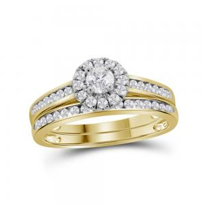 14kt Yellow Gold Womens Round Diamond Bridal Wedding Engagement Ring Band Set 5/