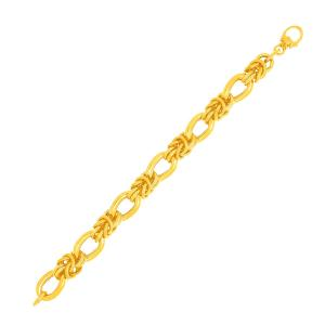 14K Yellow Gold Fancy Knotted Link Textured Bracelet
