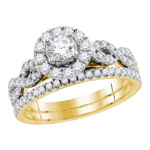 14kt Yellow Gold Womens Round Diamond Twist Bridal Wedding Engagement Ring Band