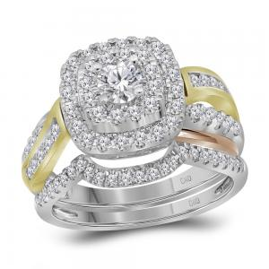 14kt White Yellow-tone Gold Womens Round Diamond Double Halo Bridal Wedding Ring