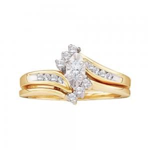 10kt Yellow Gold Womens Marquise Diamond Bridal Wedding Engagement Ring Band Set