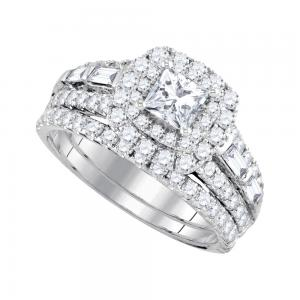 14kt White Gold Womens Princess Diamond Halo Bridal Wedding Engagement Ring Band