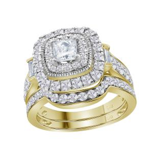 14kt Yellow Gold Womens Round Diamond Square Halo Bridal Wedding Engagement Ring
