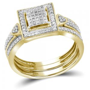 10kt Yellow Gold Womens Diamond Square 3-Piece Bridal Wedding Engagement Ring Ba