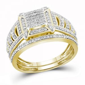 10kt Yellow Gold Womens Diamond Square Cluster Bridal Wedding Engagement Ring Ba
