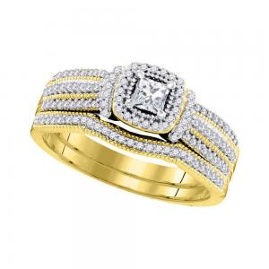 10kt Yellow Gold Womens Princess Diamond Bridal Wedding Engagement Ring Band Set