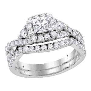14kt White Gold Womens Princess Diamond Solitaire Halo Bridal Wedding Engagement