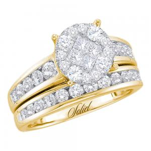 14kt Yellow Gold Womens Diamond Cluster Soleil Bridal Wedding Engagement Ring Ba